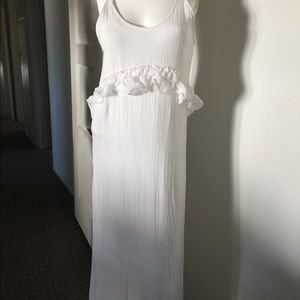 Zara white cotton maxi dress fully lined ruffles